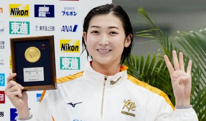 「競泳日本選手権最終日」 競泳  女子50㍍自由形で優勝し、今大会4冠を達成した池江璃花子